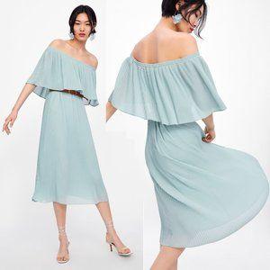 NEW Zara Sea Green Off Shoulder Pleated Midi Dress